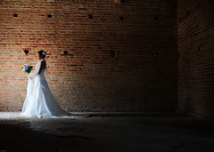 (Huey Yoong) Tags: flowers portrait facade bride dramatic naturallight brickwall weddingdress bridalportraits prewedding weddinggown fullbody sigma30mmf14 weddingportraits nikond300 hueyyoong