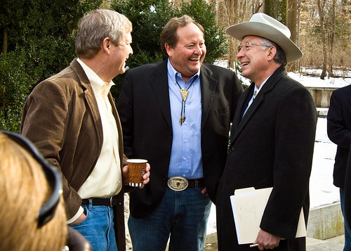 Agriculture Secretary Tom Vilsack (left), Montana Governor Brian Schweitzer (center) and Interior Secretary Ken Salazar
