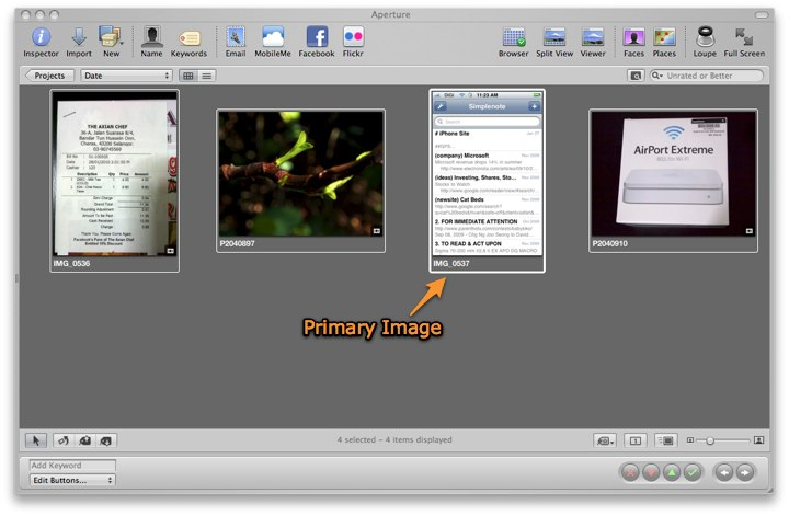 Aperture 3: 4 thumbnails selected in the Browser