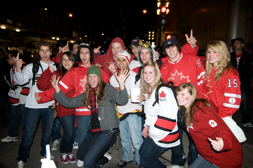 Team Canada Fans Pose for a Picture