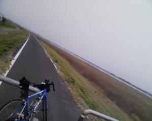 利根川サイクリングロードは天気のせいか殺風景・・ ・