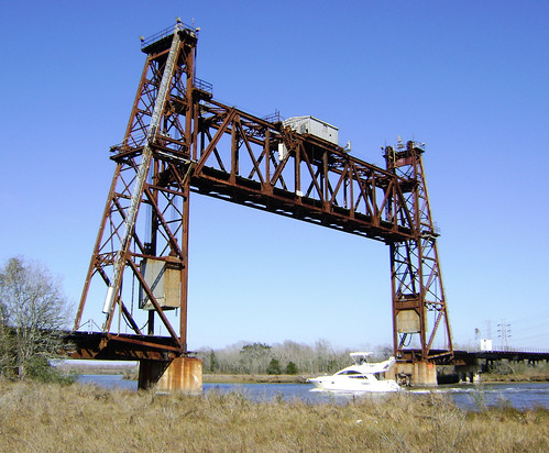 Truss Railroad Lift Bridge over Cedar Bayou, south of Spur 55, Baytown, Texas 0228101501