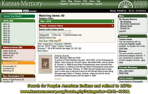 Kansas Memory - Search for People: American Indians and refined to 1870s