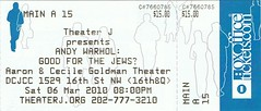 Andy Warhol: Good for the Jews? ticketstub