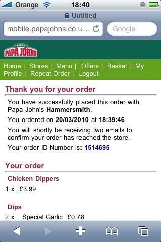 papa johns mobile web order