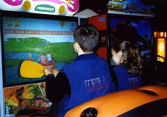 Will and Christina Chitwood at Dave and Buster's in Denver, Colorado, after the 2001 Southwestern Regionals