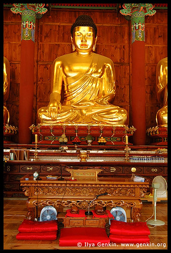 Golden Buddha Statue Inside Jogyesa Temple in Seoul, South Korea