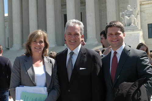 BJC General Counsel K. Hollyn Hollman, Executive Director J. Brent Walker, and Staff Counsel James Gibson stand outside the U.S. Supreme Court after oral arguments in Christian Legal Society v. Martinez on April 19, 2010. The BJC filed a brief in the case in support of religious freedom, but neither party.