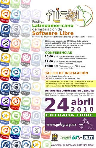 Poster FLISOL 2010 en Torreón.