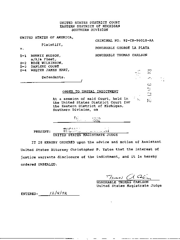 Order To Unseal Indictment in CASE 92-CR-90018-AA