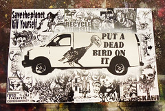 Put a Dead Bird on it (SKAM sticker) Tags: streetart stencils oregon portland graffiti hipsters sticker or painted stickers handpainted portlandia tvshow van recycle yourself skam savetheplanet blockprinted killyourself screenprinted 61711 lampooning putabirdonit oregonizedgallery takeawalkinourshoes southeastartscene putadeadbirdonit tvcontrolmachine