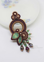 Soutache Earrings (BeeJang - Piratchada) Tags: beadweaving beadwork embroidery soutache purple amethyst green pacific opal gold earrings earring jewelry handmade