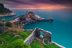 Italian Castle (albert dros) Tags: longexposure storm fooliage portovenere ruins travel castle water sunset italy seascape cinqueterre tourism rocks clouds