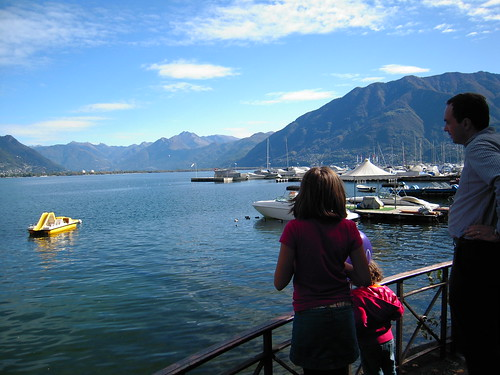 walking along the harbor in Lugano