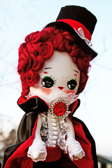 Fangtasia (boopsie.daisy) Tags: new red girl vintage blood orleans doll handmade lace vampire ooak inspired plush homemade tophat handpainted jewel dapper boopsiedaisy