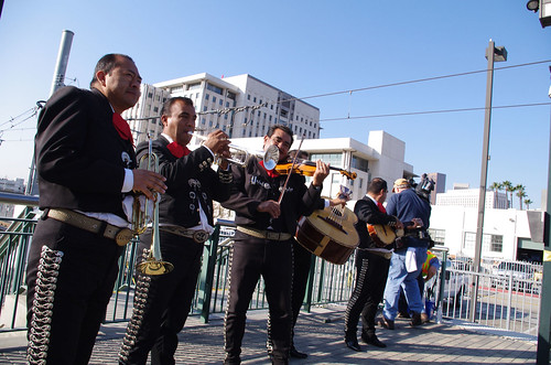 Mariachis play traditional songs at the gathering at Union Station