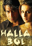 [Poster for Halla Bol with Halla Bol, Ajay Devgan, Rajkumar Santoshi, Vidya Balan, Pankaj Kapoor]