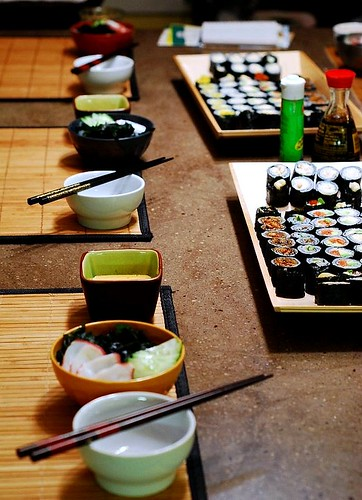 Table set for Sushi party