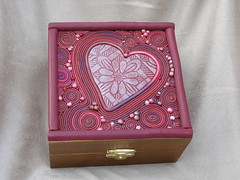 Hearts & Swirls box (intothedawn) Tags: pink red heart box polymerclay swirl premo