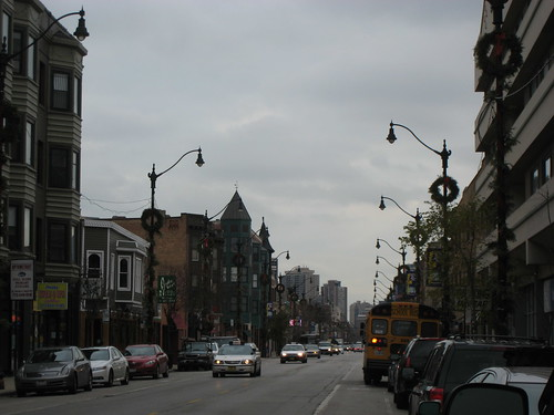 Lincoln Avenue on a wintry weather morning - flurries in the air.