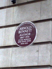 Photo of Arnold Bennett brown plaque