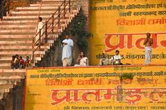bathtime bhajans and beats (Shreyans Bhansali) Tags: morning musician music orange india water up stairs river children singing religion watching steps entertainment singer varanasi indians ganga tabla ganges ghats robes ghat chanting uttarpradesh bhajan