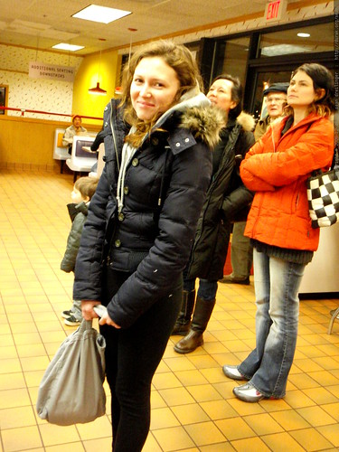 megan arriving at burgerville to celeberate her 22nd birthday - PC270041
