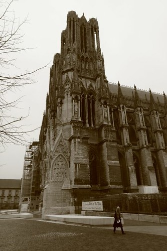 The magnificent Cathedral in Rheims, France.