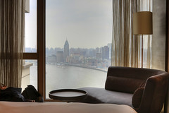 Hyatt on the Bund Hotel Room Window (IceNineJon) Tags: china city travel windows sky window water glass river photography hotel boat asia shanghai room chinese hyatt prc    bund hdr hotelroom thebund huangpu peoplesrepublicofchina puxi hongkou huangpuriver      canon40d hyattonthebund
