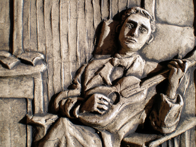 Detail: Man with Guitar Tile