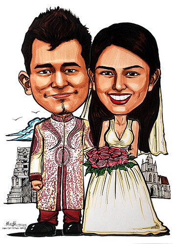 Caricature theme - Indian + western wedding