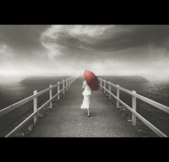 The Pier (Dylan-K) Tags: red sea white mist fog lady umbrella pier dress australia brisbane queensland wynnum