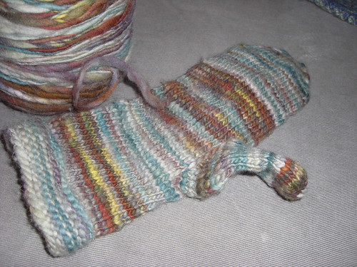 Handspun Mitten Progress