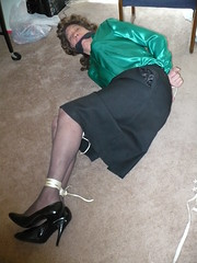 Bound on the Floor 2 (cameraman344) Tags: bondage heels did satin crossdresser