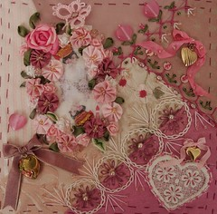 Lisa's work on Gerry's K's block (ivoryblushroses) Tags: pink roses hearts beads crazy quilt lace queen cq embellishment stitching crown tatting encrusted crazyquilting silkie embroiderry