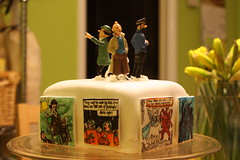 The Tintin cake. Or at least, the top half. (ozvickijc) Tags: cake baking snowy tintin calculus haddock herge