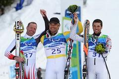Le podium du slalom géant aux JO paralympiques de Vancouver