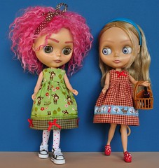 Oakley and Meadow in new homemade dresses