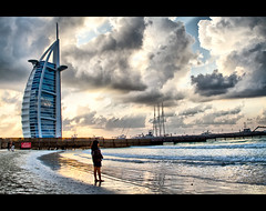 Alone... (Sh@dows) Tags: sea portrait beach girl clouds canon landscape photography photo model dubai shadows candid uae burjalarab 7d hdr jumairah shdows sarin canon24105f4isl sarinsoman canon7d readynamix
