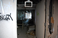 Abandoned Hospital 33 (xshamethestrongx) Tags: hospital graffiti hall neworleans hallway medical hurricanekatrina urbanexploration flooded urbex abandonedhospital patientroom