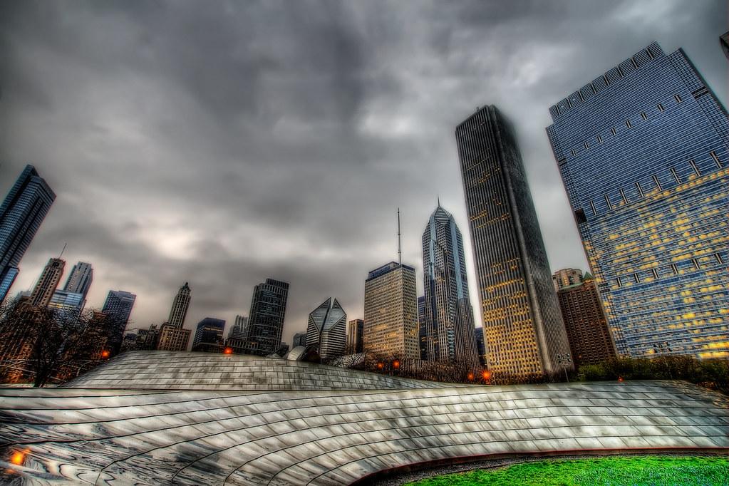 Millenium Park Bridge and the Chicago Skyline