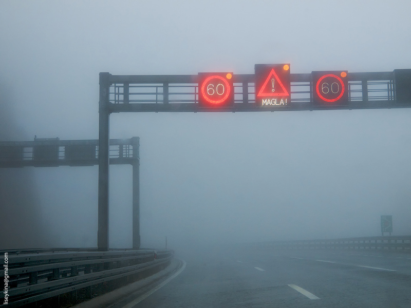 Foggy road. Croatia