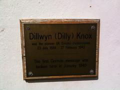 Photo of Dillwyn (Dilly) Knox brass plaque