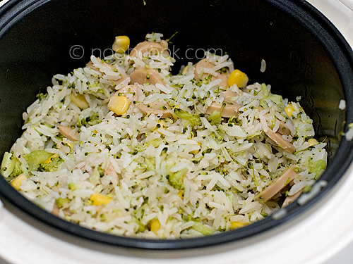 Broccoli, Potato & Sausage Baked Rice