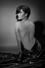 (Mariah Bailey) Tags: light portrait bw woman inspiration hot sexy monochrome self vintage studio george back glamour noir shadows silk sensual sheet form lamps elegant tones gaze hurrell