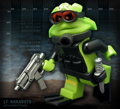 Lt. Bakaboto, Battletoad 2nd Class (Morgan190) Tags: digital photoshop soldier fighter lego military navy frog seal toad scifi backwards sciencefiction nes minifig custom teehee ribbit croak m19 minifigure npu battletoads brickarms brickforge morgan19 battletoad minifigcat alienconquest