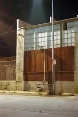 Street light (ADMurr) Tags: la eastside factory night street light cab693 cone window pane leica kodak ektar tripod film 35mm