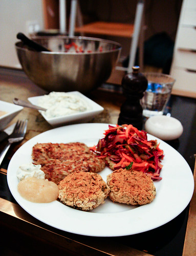 Potato pancakes, white bean croquettes and cabbage slaw