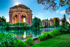 Palace Garden (Surrealize) Tags: sanfrancisco california park blue sky orange sun reflection tree green water grass birds museum architecture garden greek bay leaf pond nikon branch glow roman seagull peaceful flare column tall burst palaceoffinearts presidio tranquil hdr exploratorium d700 surrealize