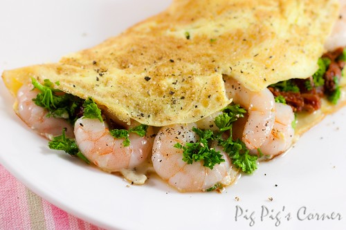 prawns sun-dried tomatoes parsley omelette